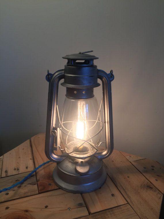Gunmetal Steel Lantern Lamp, Electric Railroad Lantern Edison Bulb Kerosene Oil Lamp Rustic Table Lamp Industrial Lighting Decor