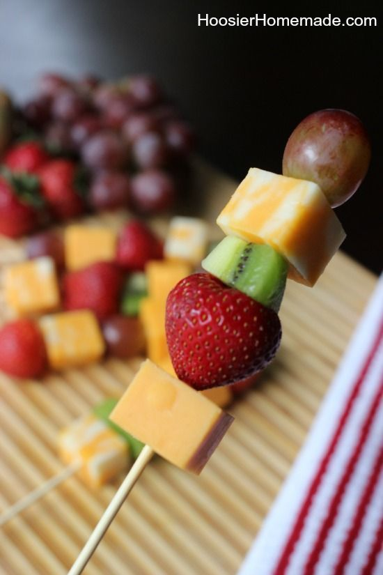 "Fruit & Cheese Kabobs....this could be some food with ""natural sugar"" to offset all the snacks at my girl's upcoming birthday party"