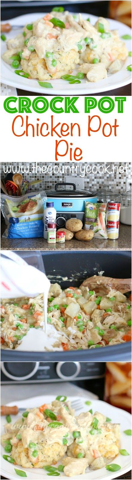 Crock Pot Chicken Pot Pie recipe from The Country Cook. A thick and creamy filling with chunks of chicken, potatoes and other veggies all served over soft and tender biscuits. My family went crazy for this and it also makes for good leftovers!