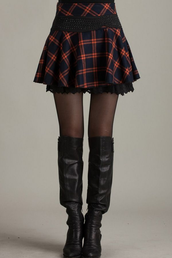 Bejeweled Plaid Pleated Skirt - OASAP.com