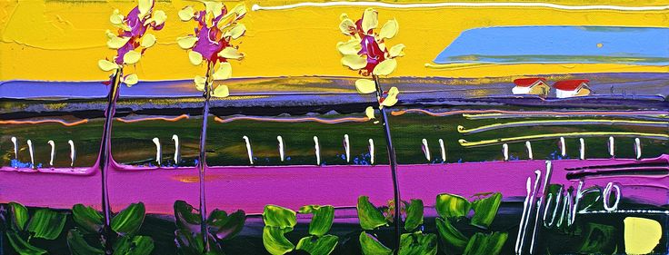 A #Munro painting with a mexican #magenta feel. http://munromunromunro.com