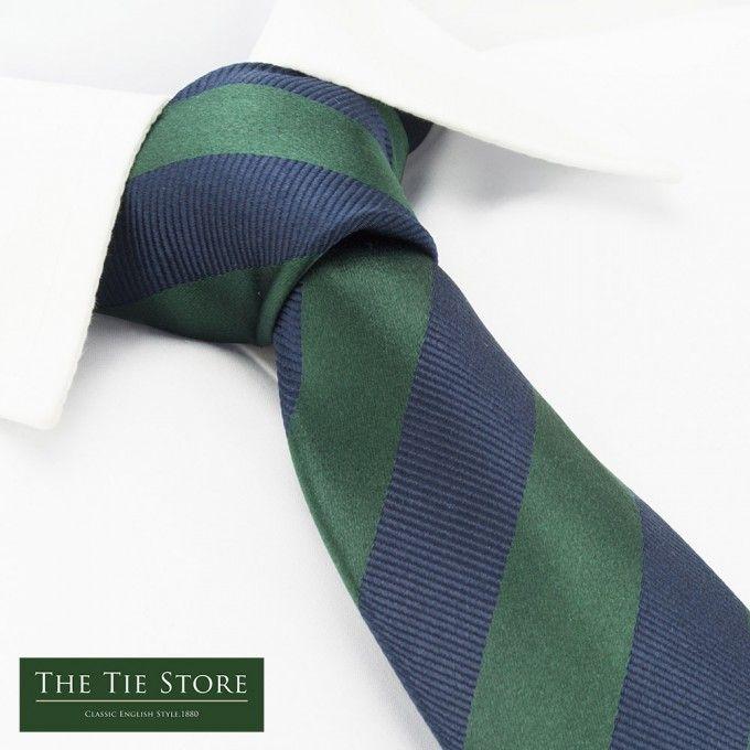 Dark Green & Navy Woven Striped Silk Tie @ The Tie Store
