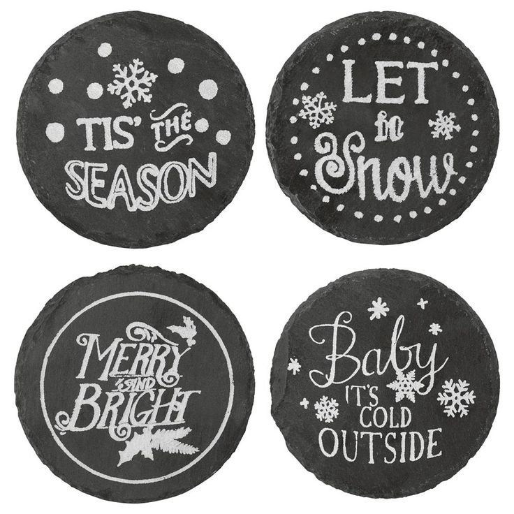 Set of 4 Round Slate Coasters with Typography | Bouclair.com