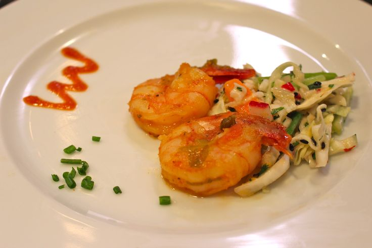 ... shrimp with ginger & scallions- served over an asian radish cole slaw