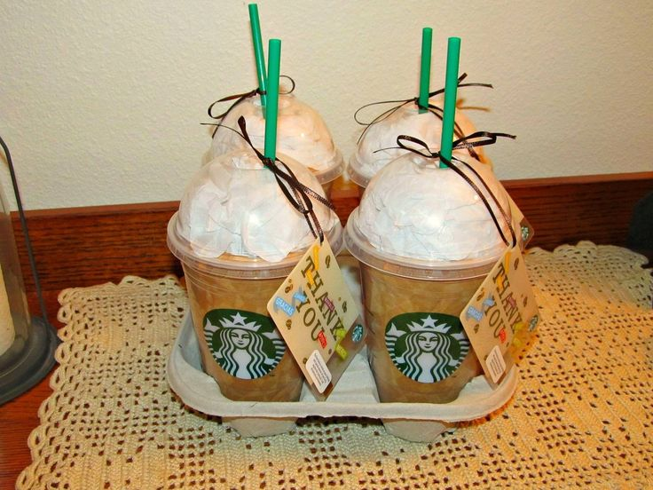 "Carol made the coolest, end of the year, THANK YOU gifts for Ben's teachers. These lattes are made with tan and white tissue paper in the cups with gift cards attached. The people at Starbucks gave Carol the cups and straws. ""Thanks a Latte!"" My wife is sooo talented! (By Kirk and Carol Willis)."