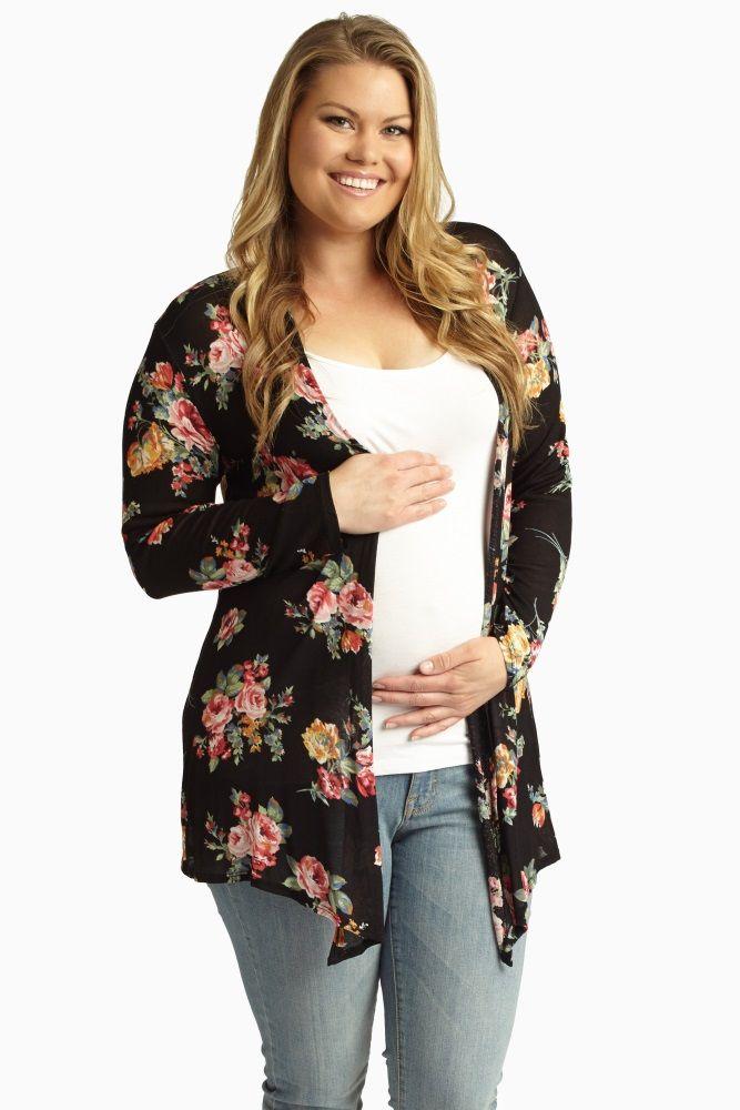 Black-Floral-Print-Plus-Size-Maternity-Cardigan
