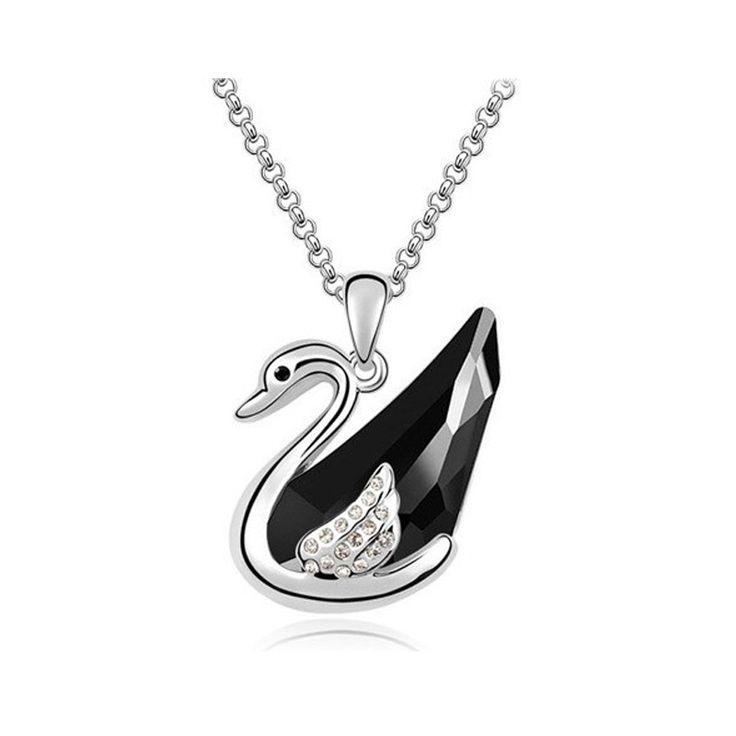 Austrian crystal swan pendant thin gold chain necklace collier women fashion 2016 bijoux coliers femme/gioielli/bizuteria/collar