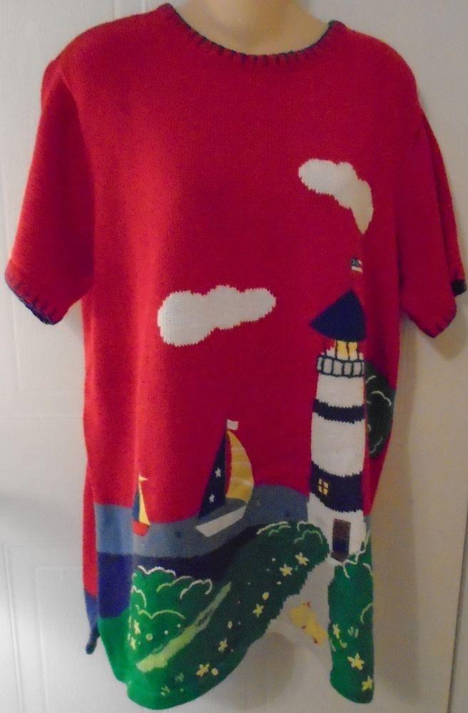 Quacker Factory Women's Sweater Mini Dress Lighthouse Sailboat