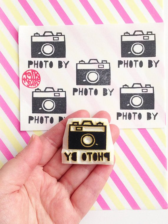 Camera rubber stamp | photo by | retro hand carved stamp | gift for photographer | business packaging + art journalingElvira Assis