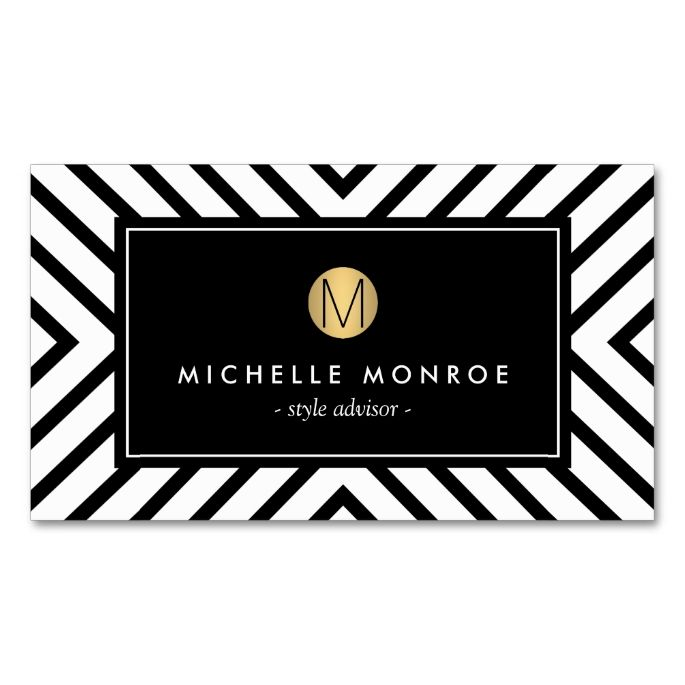 The 2155 best plain minimalist business card templates images on retro mod black and white pattern gold monogram business card reheart Choice Image