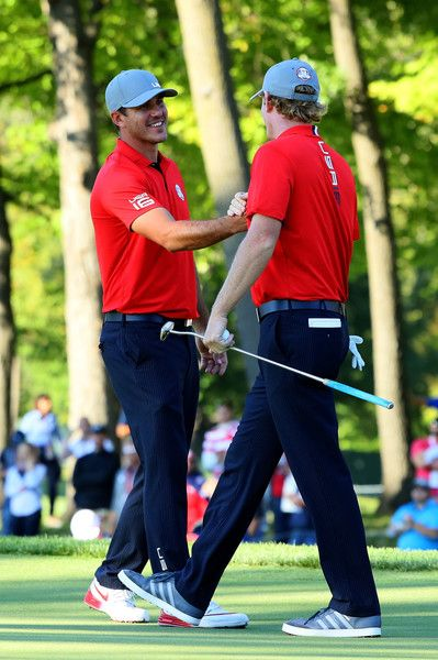 Brooks Koepka and Brandt Snedeker of the United States react on the 13th green during afternoon fourball matches of the 2016 Ryder Cup at Hazeltine National Golf Club on September 30, 2016 in Chaska, Minnesota. - 381 of 595