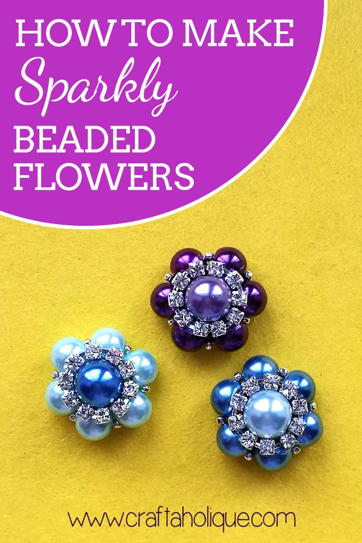 How to make sparkly beaded flowers! This is a quick craft project that you can use for jewellery making and more. Beaded flower tutorial at Craftaholique.