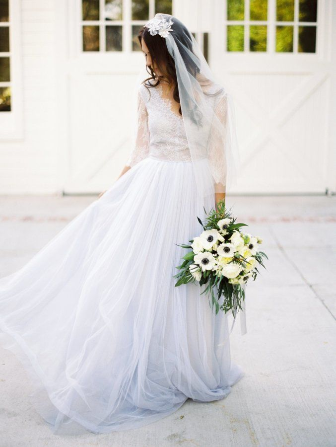 Pretty pastel blue wedding gown: http://www.stylemepretty.com/california-weddings/los-angeles/2016/05/16/this-pretty-pastel-wedding-dress-will-make-you-reconsider-white/ | Photography: Mallory Dawn - http://www.mallorydawn.com/