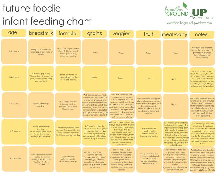 Infant Feeding Chart. When to introduce which foods to baby -- creating future foodies, one bite at a time! Parenting, nutrition, and plants all in one.