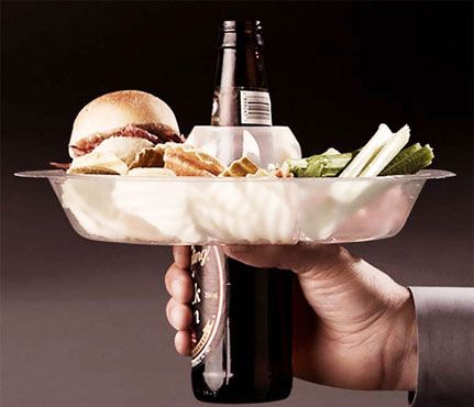 Essentials For A Perfect Tailgate: Don't Spill. This reusable, washable plastic plate fits over any standard bottle or can, allowing you to not only move around easily, but avoid the awkward plate-on-cup balance. #SelfMagazine