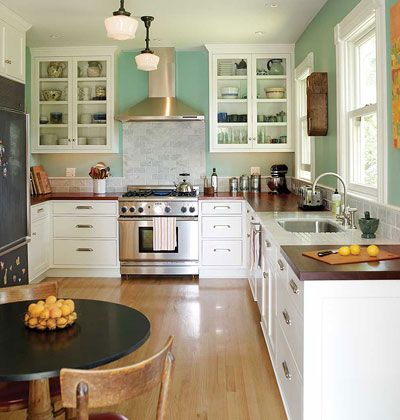.: Wall Colors, Dreams Kitchens, Kitchens Design, Style, Kitchens Ideas, Farmhouse Kitchens, Wood Countertops, White Cabinets, Butcher Blocks Counter