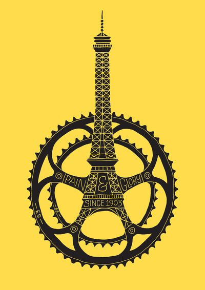 Le Tour de France 100th Anniversary Art Print: Graphic Design, Dave Foster, Bike, Poster, De France, Bicycle