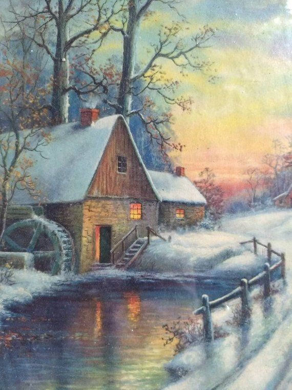 Art Paintings Old Oil Painting,{ Winterlandscape With A Farmhouse And Trees Is Signed }.
