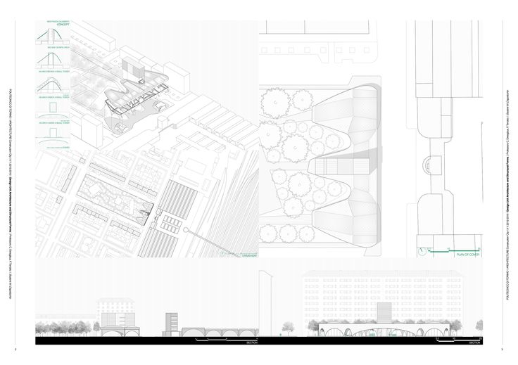 Piazza Galimberti, Torino, project (concept, analysis, urban plan, plan of cover, elevations)
