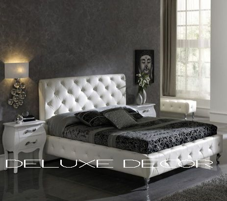 Monique Modern Crystal Buttoned White PU Leather Bed http://deluxedecor.com.au/products-page/monique-collection/