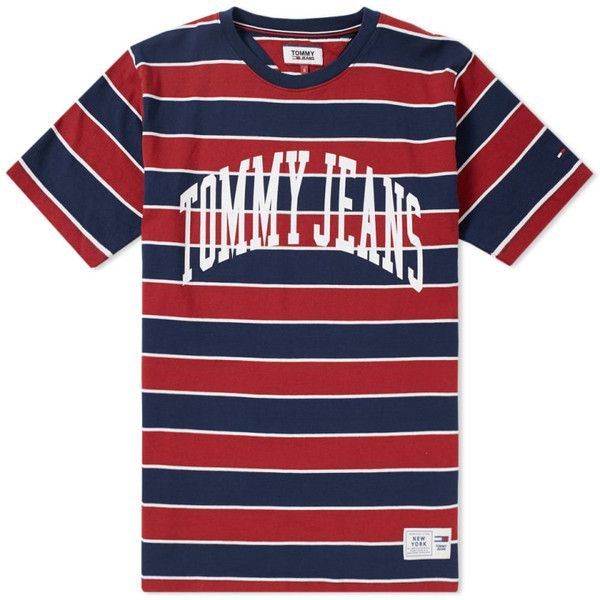 0dac33cb70ee0b Tommy Jeans Collegiate Stripe Tee ($250) ❤ liked on Polyvore featuring  tops, t-shirts, collegiate t shirts, tommy hilfiger tee, blue top, stripe t  shirt ...