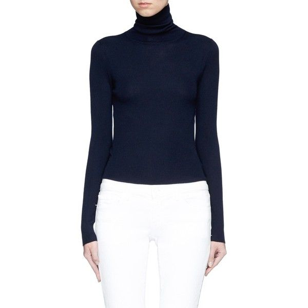 Theory Merino wool turtleneck sweater (132.540 CRC) ❤ liked on Polyvore featuring tops, sweaters, blue, blue turtleneck, merino wool sweater, polo neck sweater, merino turtleneck sweater and theory sweater