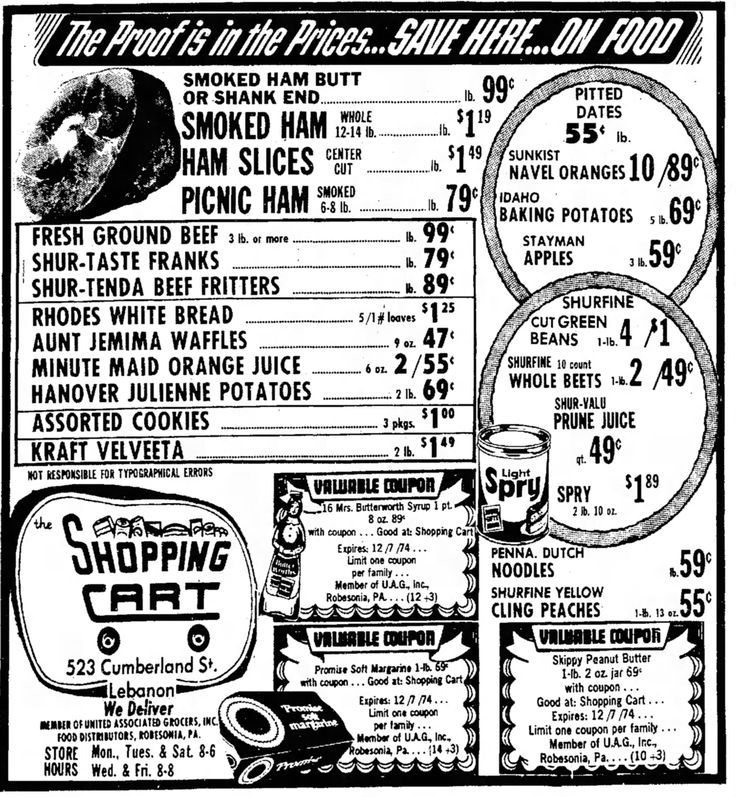Grocery ad in my hometown newspaper, the Lebanon Daily News. It ran on December 4, 1974.