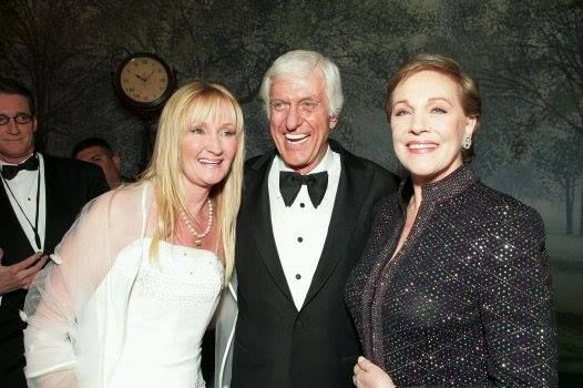 Karen Dotrice, Dick Van Dyke & Julie Andrews pose at the after-party for Disney's 'Mary Poppins' 40th Anniversary Edition DVD Launch party and screening 2004 (absent is Matthew Garber who unknowingly contracted hepatitis while in India in 1976 & several months later the disease had affected his pancreas which resulted in his death in 1977 aged just 21)