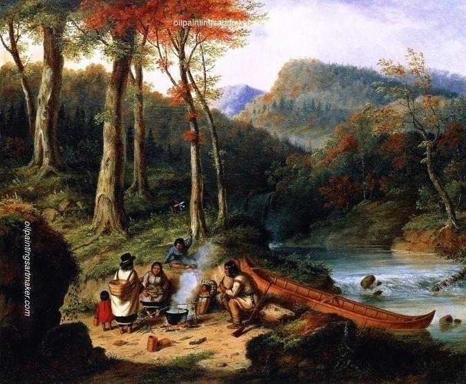 Cornelius Krieghoff Huron Indians at Portage, painting ...