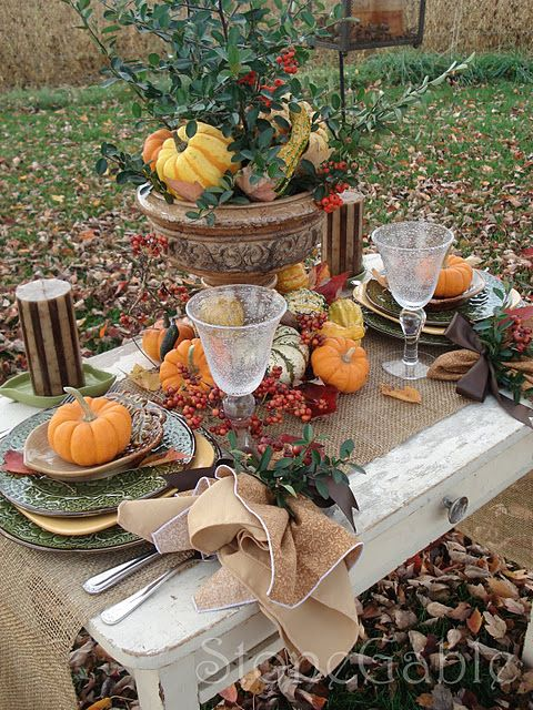 an outside Fall table.... Love the glasses!
