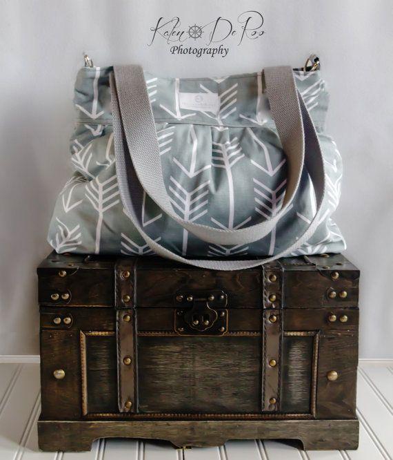 Gray Arrow Diaper Bag   Stroller Bag  Bags by PreciousLittleTot