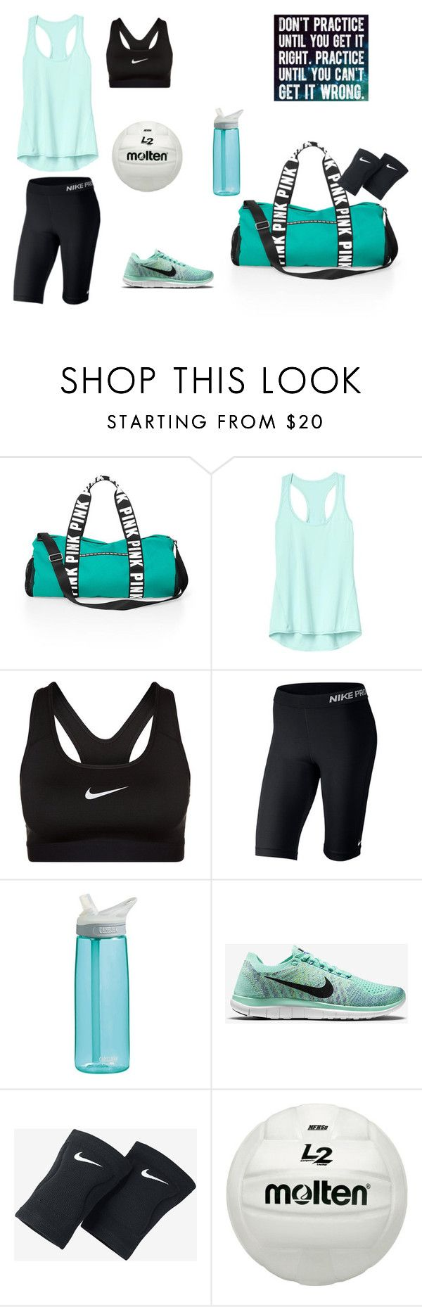"""""""Volleyball practice"""" by lilyauna ❤ liked on Polyvore featuring Victoria's Secret PINK, Athleta, NIKE and CamelBak"""