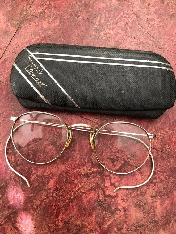 da530f9a06 1920s Vintage Gold Filled Wire Rimmed Eye Glasses with ART Deco Case  Engraved White Gold Filled 1 10 12K Gold Filled FUL VUE
