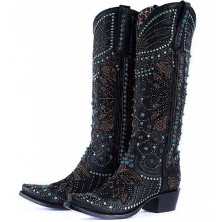 Kippys Victoria Spiked Black Swarovski Crystal Boots PRE-ORDER - Cowgirl Kim
