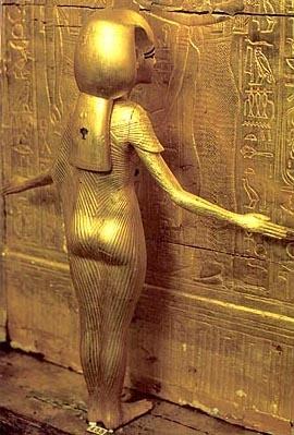 Goddess Isis protecting Tutankhamun's shrine