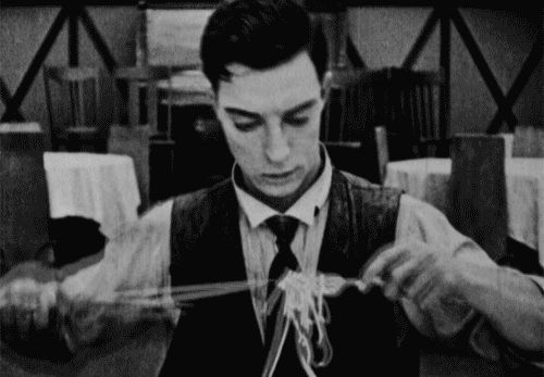 maudelynn:    Buster Keaton in The Cook c.1918  So handsome… and funnily clever, too. Perfect.