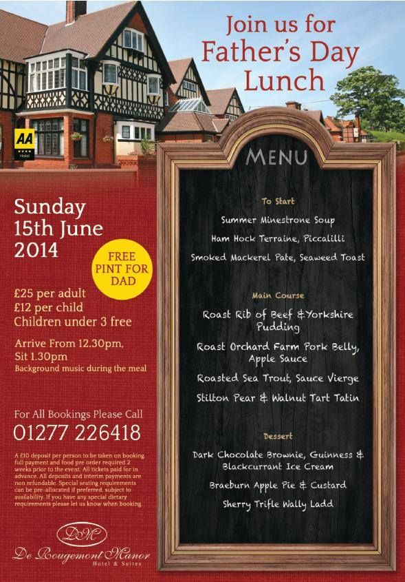 By De Rougemont Manor We are now taking bookings for Father's Day. Join us on Sunday 15th June!! Simply call our reservations team direct on 01277 226418 to book a table.