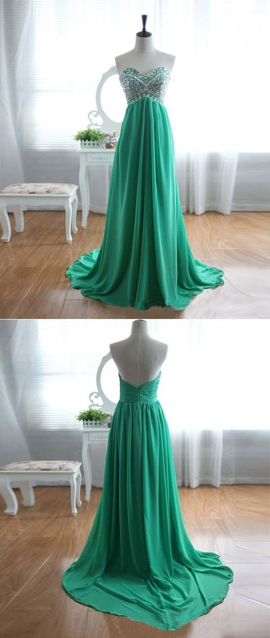 prom dresses,New Arrival green a-line sweetheart neck chiffon long prom dress, evening dress,sexy prom Dresses