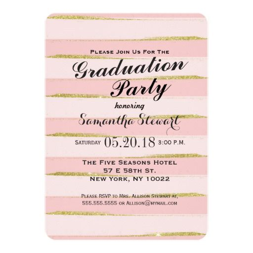 Chic Gold Pink Stripes Graduation Party Invitation