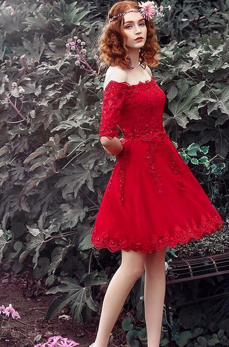Vnaix P1259 Charming Short Red Lace Appliques Prom Dress Half Sleeves Short Evening Party Dresses Vestido de la dama de honor