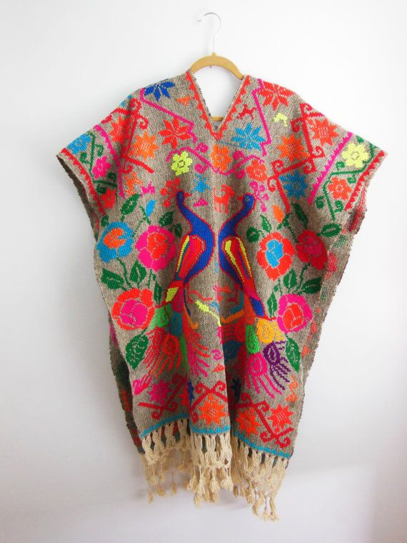 Classic Bohemian Vintage Hand Embroidered Floral Peacock Poncho Cape Huipil Charcoal Cotton Folk Wearable Art