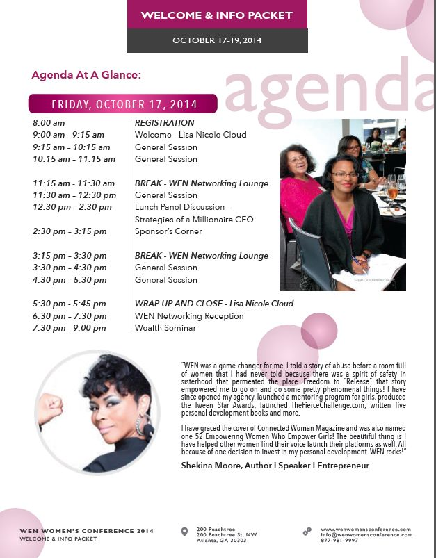 Sample pages from Womenu0027s Conference Welcome Brochure Examples - sample conference agenda