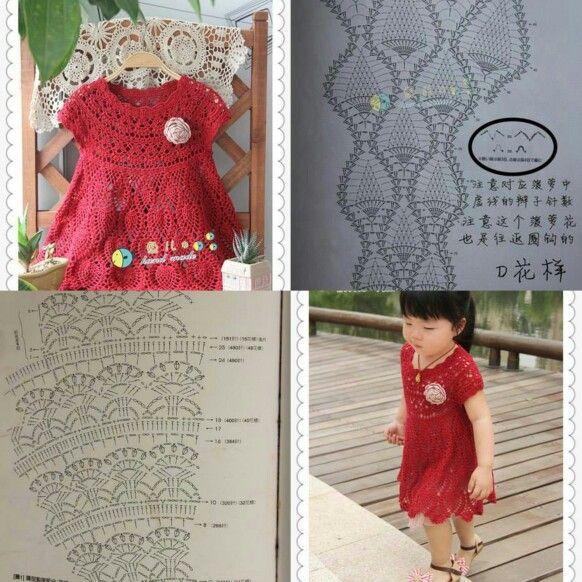 Vestido niña a crochet