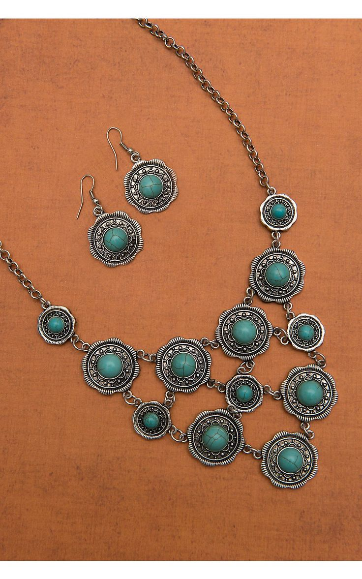 West & Co® Silver Round Concho with Turquoise Bubble Necklace and Earrings Jewelry Set: Jewelry Sets, Turquoise Bubbles Necklaces, Necklaces Bibs, Girls Bling, Turquoise Bubble Necklace, Earrings Jewelry, Silver Round, Bubble Necklaces, Jewerly Sets