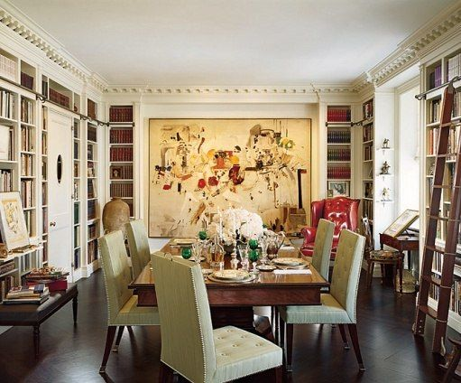 dining room/library combo: Ideas, Books, Libraries Dining, Home Libraries, Interiors, Dining Rooms Libraries, Diningroom, House, Architecture Digest