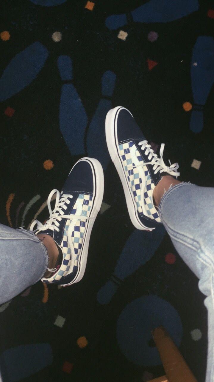 Old Skool Blue Checkerboard Vans Vans Shoes Old Skool Custom Vans Shoes Vans Boots