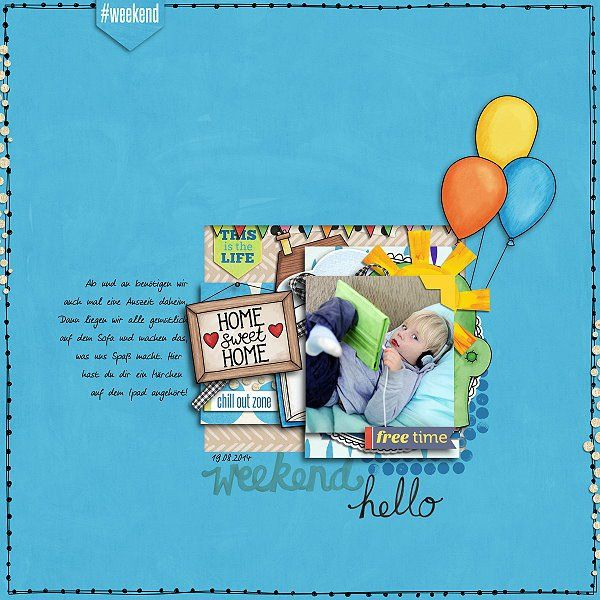 Weekend at Home digital scrapbooking page | scrapbook layout ideas | Kate Hadfield Designs creative team layout by Madlen