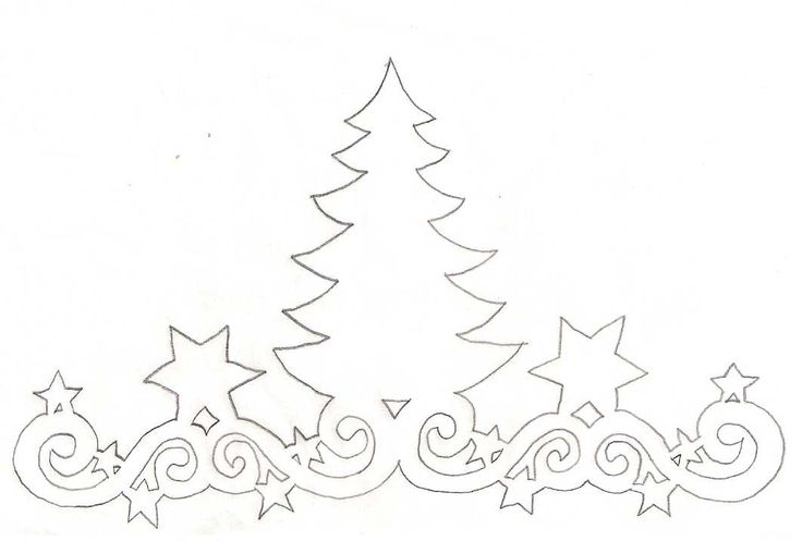 Christmas Tree;  Paper cut template.