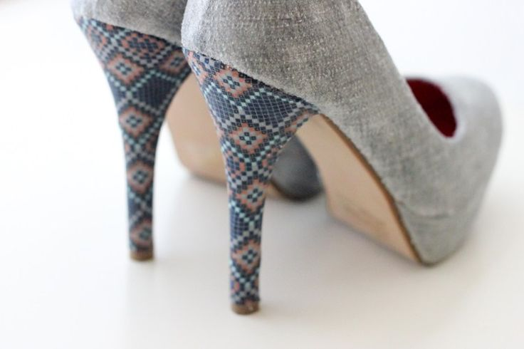 22 Shoe Refashions to DIY in 2017. Makeover your heels with this fabric refashion DIY. Click HERE to see the full tutorial with lots of pictures.