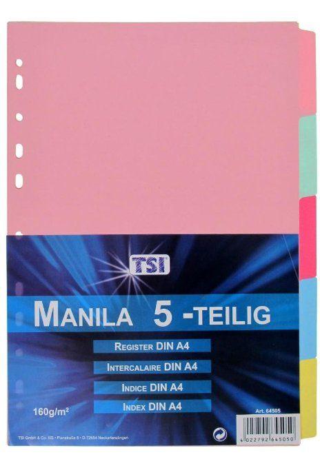 Manila Karton Ordner-Register / 160g/m² / DIN A4 / mit 5 blanko Taben